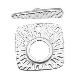 TierraCast Rhodium Plated Pewter Textured Radiant Toggle Clasp 22mm (1)