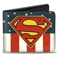 Superman Shield Americana Red White Blue Yellow Bi Fold Wallet - One Size Fits most