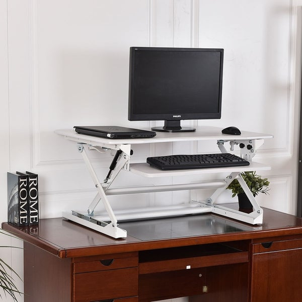 Costway Height Adjustable Computer Desk Sit Stand Desktop