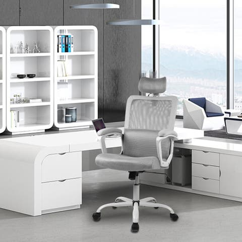 Ergonomic Office Chair with Lumbar Support Back, Adjustable Headrest