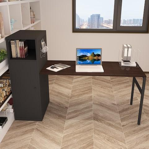 TiramisuBest Home Office Desk Table Set with File Storage- Black