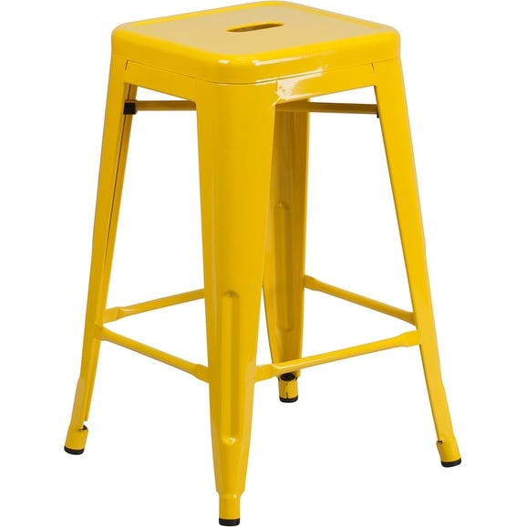Collins 24u0027u0027 High Backless Yellow Metal Indoor/Outdoor/Patio/Bar Counter  Height Stool W/Square Seat   Free Shipping Today   Overstock.com   22342819