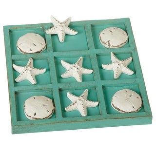 """Set of 2 Starfish and Sand Dollar Tic Tac Toe Board Game 9"""" - Blue"""