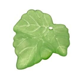 Lucite Beads Grape Leaves Matte Grass Green 25mm (10)