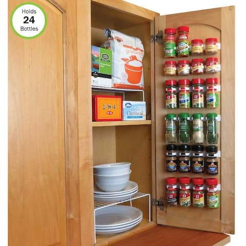 Evelots Spice Organizer-24 Bottle-Strong Hold-Easy Install-No Tool-Set/6 Strip - Set of 3