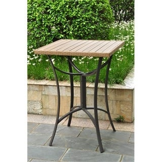 Inc Barcelona Resin Wicker-Aluminum Bar Bistro Table - Honey