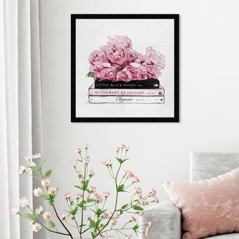 Oliver Gal 'Roses and Elegance Books' Fashion and Glam Framed Wall Art Prints Books - Pink, White
