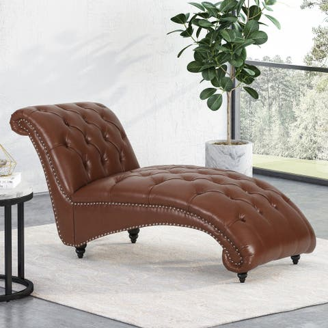 """Varnell Contemporary Button Tufted Chaise Lounge by Christopher Knight Home - 64.25"""" L x 29.00"""" W x 33.75"""" H"""