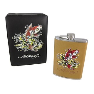 Ed Hardy Koi Fish Embroidered Tan Leather 8 Oz. Flask