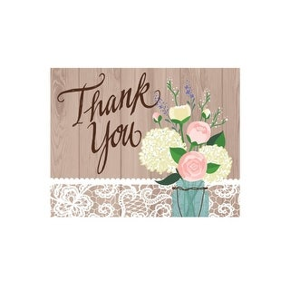 """Club Pack of 48 Rustic Wedding """"Thank You"""" Paper Cards"""
