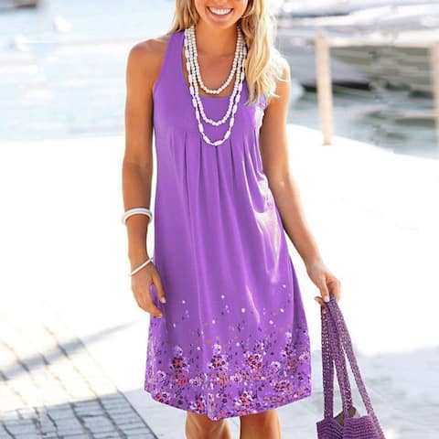 Women's Sleeveless Printed Loose Dress