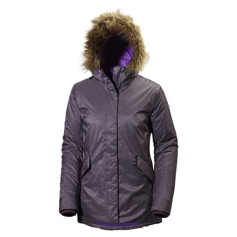 Helly Hansen Womens Jacket Purple Size Medium M Hooded Faux-Fur Parka
