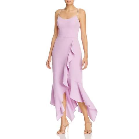 Aqua Womens Evening Dress Crepe Scoop Neck - Lilac