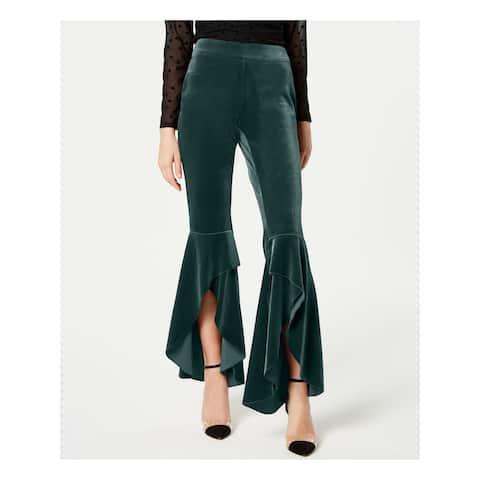 INC Womens Green Slitted Velvet Wide Leg Party Pants Size 4