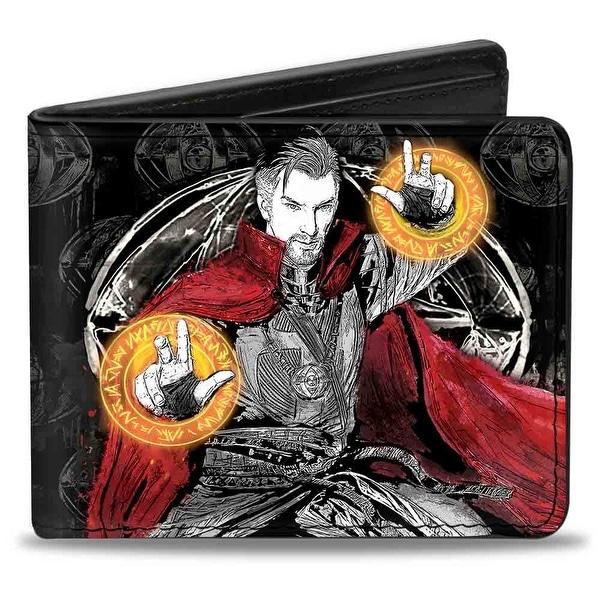 Doctor Strange Doctor Strange Pose Eye Of Agamotto Sketch Black Grays Red Bi-Fold Wallet - One Size Fits most