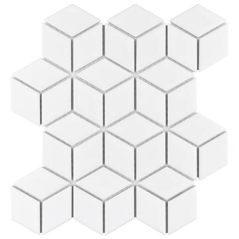 "SomerTile Metro Rhombus Matte White 10.5""x12.13"" Porcelain Mosaic Floor and Wall Tile (10 tiles/9.04 sqft.)"