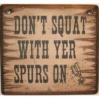 Cowboy Signs Wood Wall Hanging Squat With Spurs White Brown