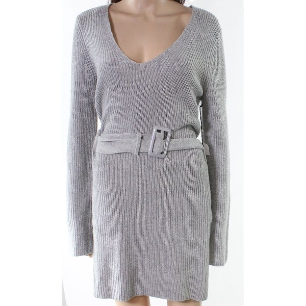 486c52c3165 Shop Leith Heather Gray Womens Size Small S V-Neck Belted Sweater ...