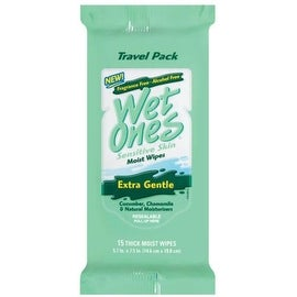 WET ONES Towelettes Sensitive Skin Extra Gentle Travel Pack 15 Each
