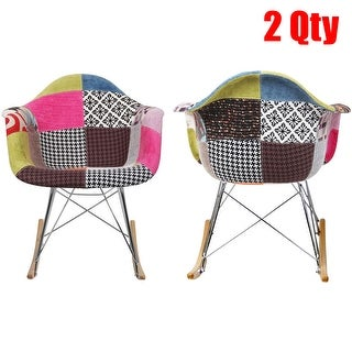 2xhome - Set of Two (2) - Eames Chair Style Molded Modern Plastic Armchair - Contemporary Accent Retro Rocker Chrome Steel Base