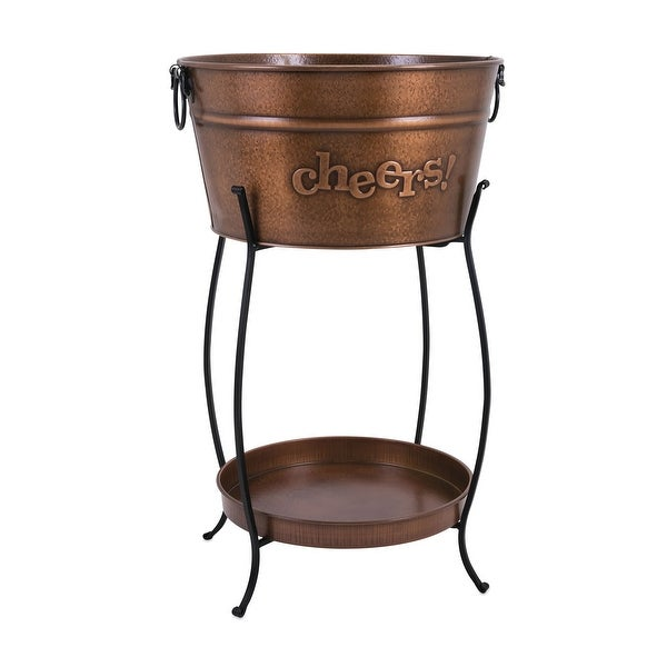 IMAX Home 44257 Persimmon Galvanized Iron Tub on Stand by Trisha Yearwood - Copper