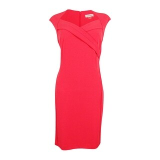 Calvin Klein Women's Plus Size Cross-Front Sheath Dress - Watermelon