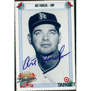 Signed Fowler Art Los Angeles Dodgers 1990 Target Baseball Card autographed