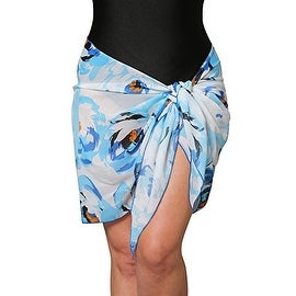 Short Plus Size Blue Floral Swimsuit Sarong Cover up with Built in Ties