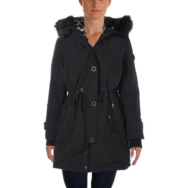 Nanette Lepore Womens Parka Faux Fur Outerwear