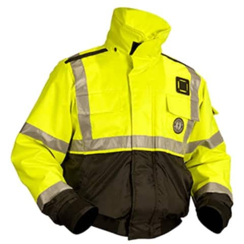 "25"" Yellow and Black Mustang Multipurpose X-Large Classic Bomber Flotation Jacket"