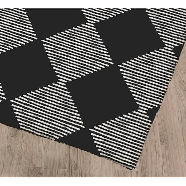 Shop Block Print Check Board In Black And White Kitchen Mat By Kavka Designs Overstock 30585704