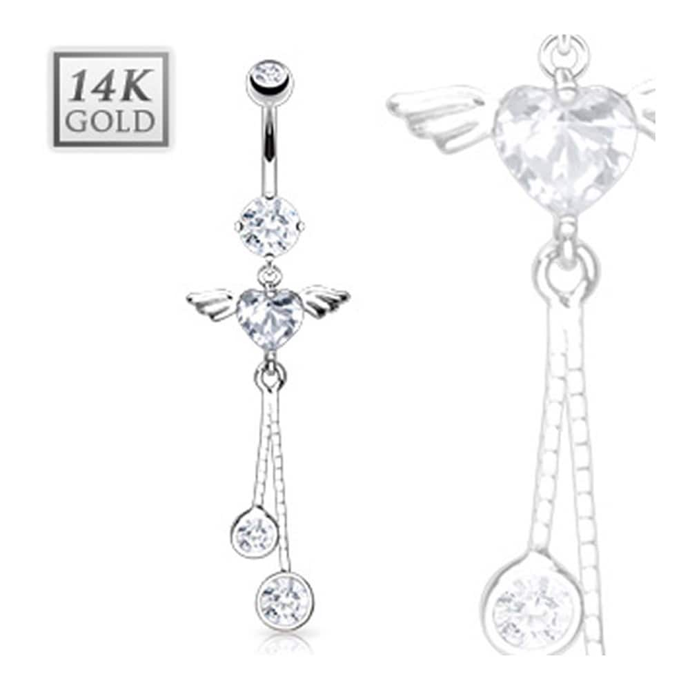 14 Karat Solid White Gold Navel Belly Button Ring With Angel Wing Heart Cz Dangle 14ga 3 8 Long