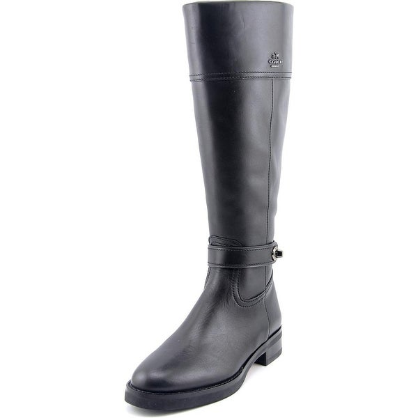 Coach Eva Women Round Toe Leather Black Knee High Boot