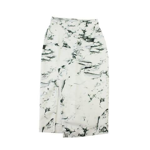 Kiind Of White Marbled-Print Slit-Front Midi Skirt S