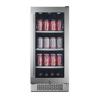 "Avallon ABR151GRH  15"" Wide 86 Can Energy Efficient Beverage Center with LED Lighting, Double Pane Glass, Touch Control Panel"