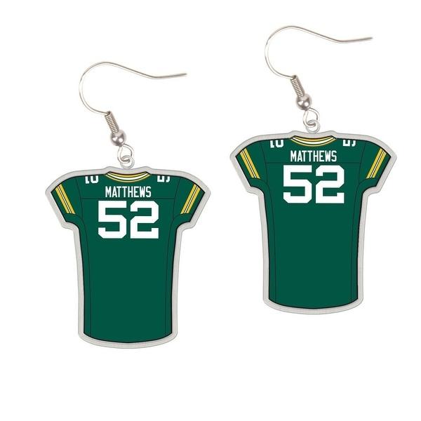 size 40 a6da3 96baa Green Bay Packers #52 Clay Matthews Dangle Jersey Earrings