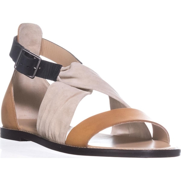 Belstaff Tallon Ankle Strap Flat Sandals, Cream/Tan/Black