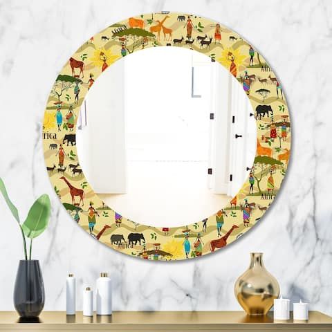 Designart 'Ethnic African Texture' Bohemian and Eclectic Mirror - Oval or Round Wall Mirror - Gold