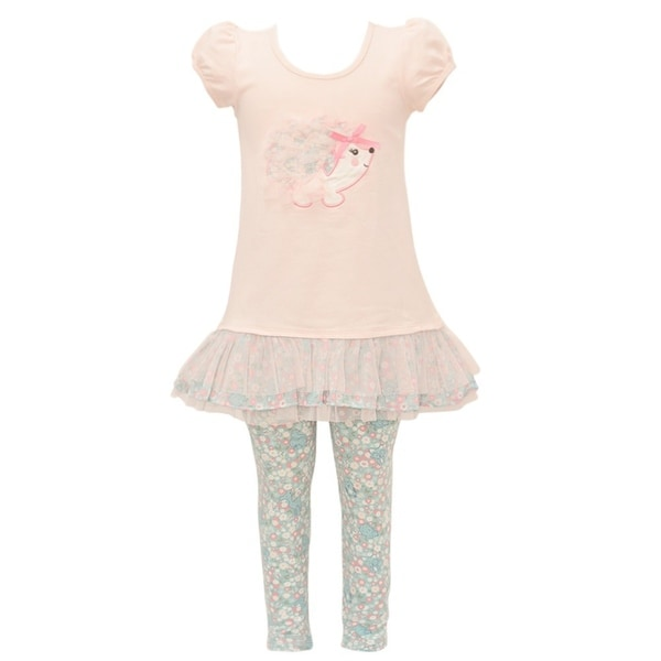 Bonnie Jean Baby Girls Peach Animal Applique Floral 2 Pc Legging Outfit