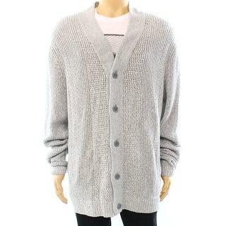 Alfani NEW Heather Gray Mens Size Medium M Ribbed Cardigan Sweater