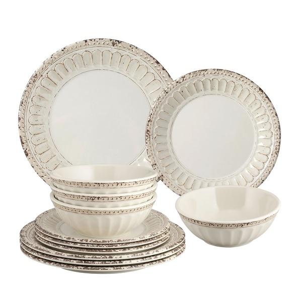 UPware 12-Piece Chateau Melamine Dinnerware Set, Sand