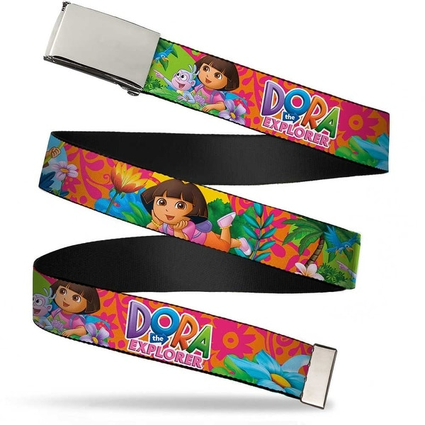 Blank Chrome Buckle Dora The Explorer Dora Poses Floral Collage Orange Web Belt