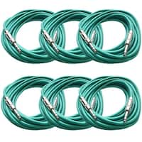 "SEISMIC AUDIO - 6 Pack of Green 1/4"" TRS 25' Patch Cable - Balanced - Effects EQ"