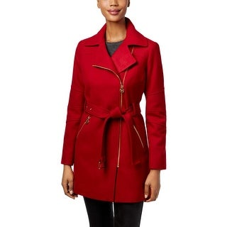 MICHAEL Michael Kors Womens Petites Coat Asymmetric Zip Front - pl