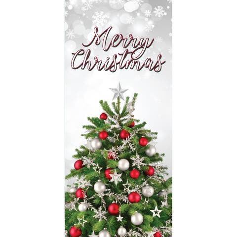 """80"""" x 36"""" Red and Green Merry Christmas Tree Front Door Banner Mural Sign Decoration"""
