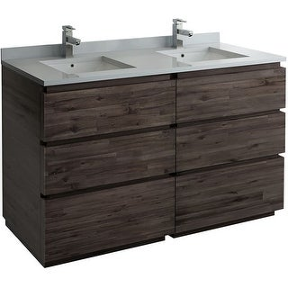 """Fresca FCB31-3030-FC  Stella 58"""" Double Free Standing Wood Vanity Cabinet Only - Acacia Wood"""