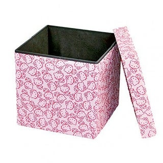 Dar Living Hello Kitty Storage Ottoman, Peach Pink, 14.5x14.5 Inches