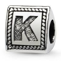 Sterling Silver Reflections Letter K Triangle Block Bead (4mm Diameter Hole)