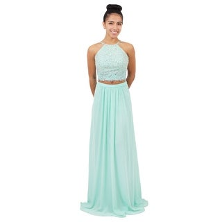Two Piece Beaded Chiffon Gown