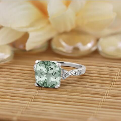 Auriya 3 1/8ct Fancy Cushion Green Amethyst and 1/4ctw Diamond Engagement Ring 14kt Gold